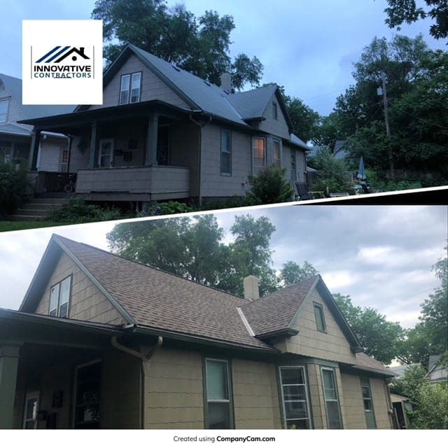 before and after roofing job