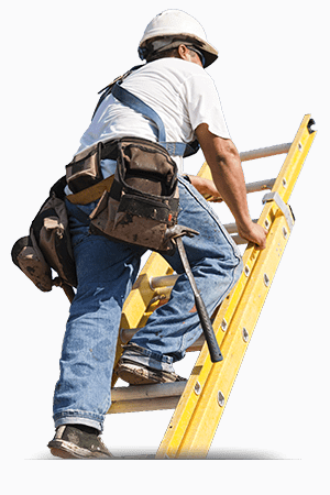 an expert roofer is climbing a ladder to perform a roofing job